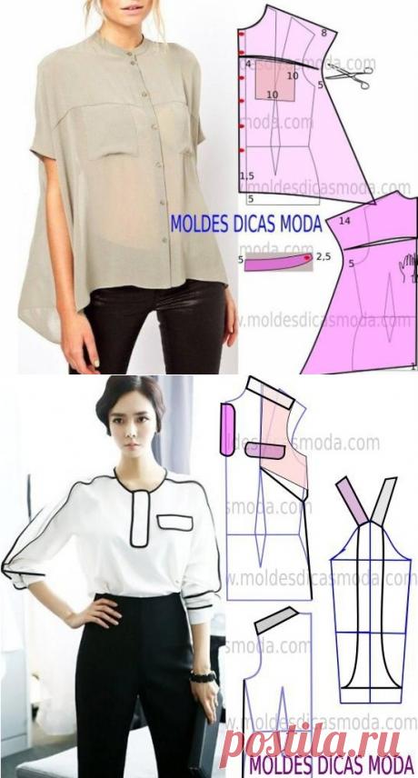 Выкройки необычных блузок (подборка) / Простые выкройки / ВТОРАЯ УЛИЦА