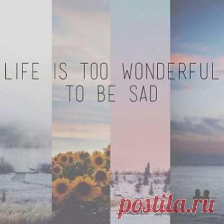 Жизнь слишком чудесна, чтобы грустить.