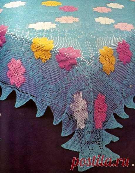 Скатерть многоцветная Скатерть в технике многоцветного филейного вязания крючком. Схема