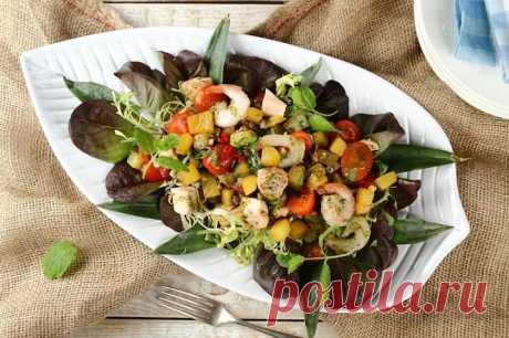 Салат с креветками и ананасом - самый вкусный – пошаговый рецепт с фото.