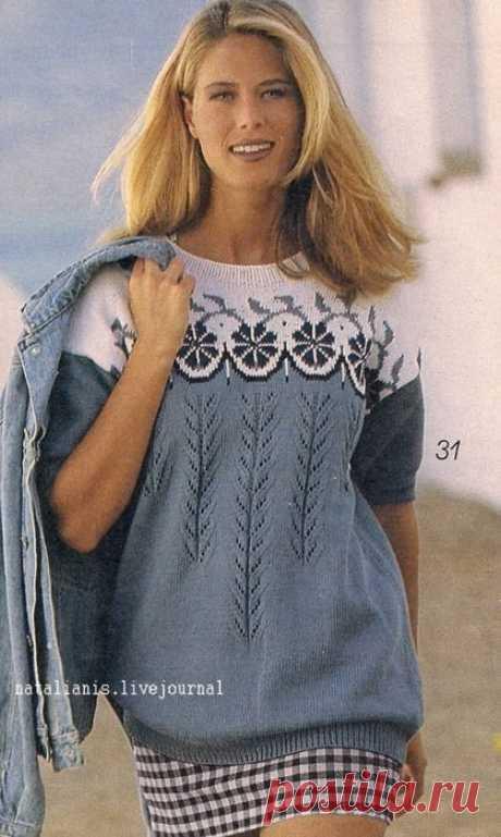 Красивые узоры для пуловера. Схемы вязания спицами