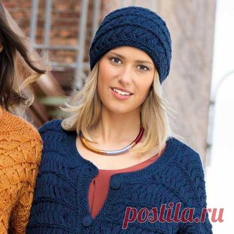 Синяя шапка с узором из протянутых петель (Вязание спицами) — Журнал Вдохновение Рукодельницы