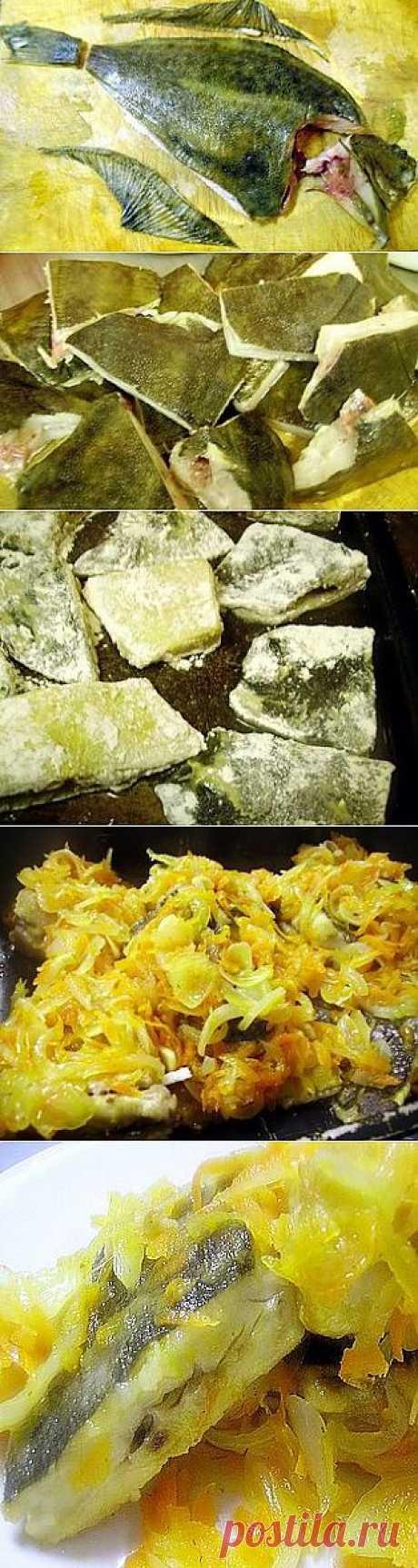 Камбала жареная с горчицей и овощами