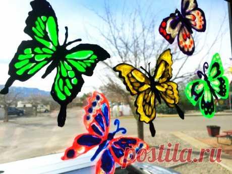 Fácil de hacer la mariposa se aferra ventana