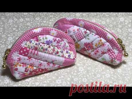 【手芸】ミシンキルトのミニポーチ【Sewing machine quilt mini pouch】【Швейная машина стеганый мини-чехол】 - YouTube