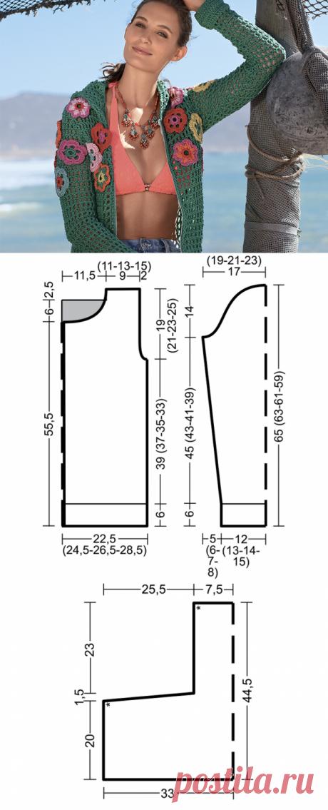 Кофта с капюшоном и цветочными мотивами - схема вязания крючком. Вяжем Кофты на Verena.ru