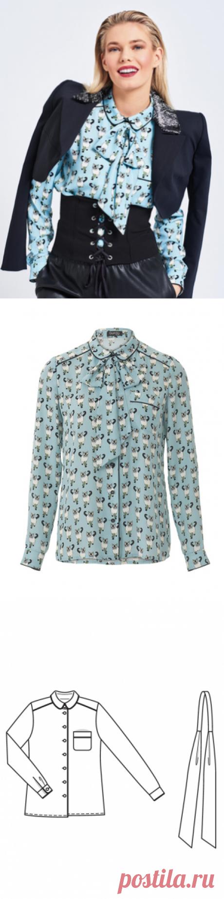 4760ebec8f7 Блузка-рубашка - выкройка № 103 A из журнала 6 2017 Burda – выкройки