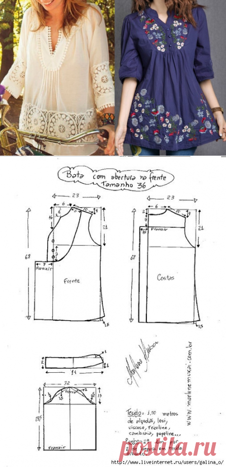 Туника с рукавом 3/4. Выкройка размер 36-50 (Шитье и крой) | Журнал Вдохновение Рукодельницы