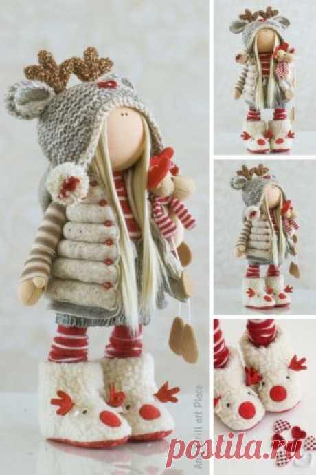 Textile Rag Doll Red Art Doll Tilda Baby Doll Fabric Decor