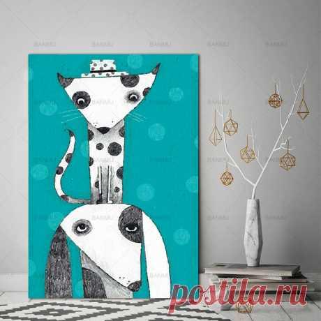 Стены в искусстве мультфильм животных кошка декора Плакат холст картины роспись стены арт printsPicture домашнего декора без рамки купить на AliExpress