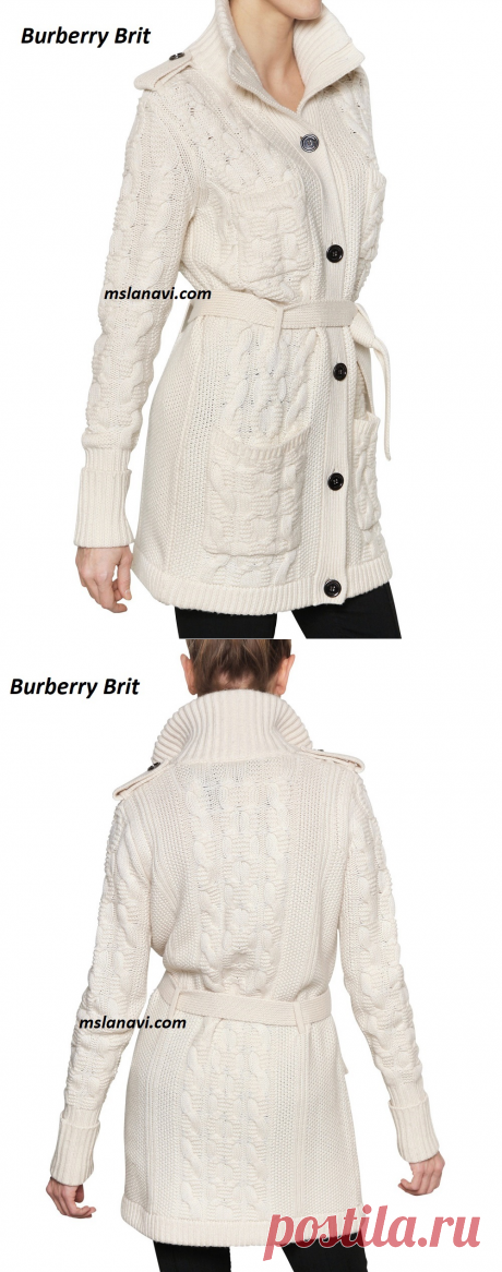 Белый кардиган спицами от Burberry Brit | Вяжем с Лана Ви