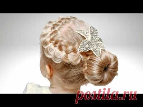 Пучок из волос украшенный французской косой Детские прически - YouTube