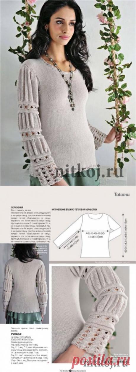 Вязаная кофточка спицами с очень красивыми рукавами » Ниткой - вязаные вещи для вашего дома, вязание крючком, вязание спицами, схемы вязания