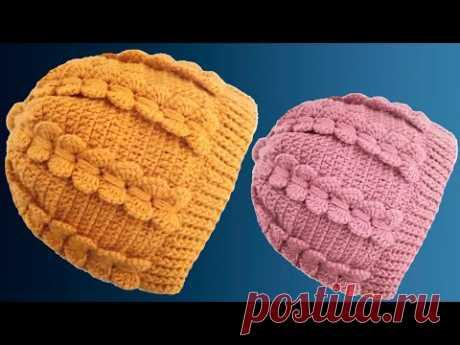 Gorro fácil tejido paso a paso Punto mariposa en Crochet