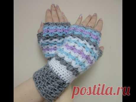 Ажурные митенки Часть -1 Вязание крючком The openwork mitts Part -1 Crochet