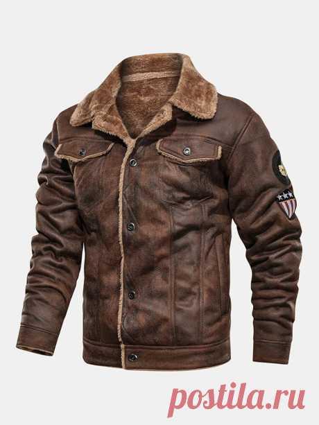 Мужские кожаные замшевые куртки на теплой флисовой подкладке с утолщенным логотипом и клапаном - 79,99 долларов США