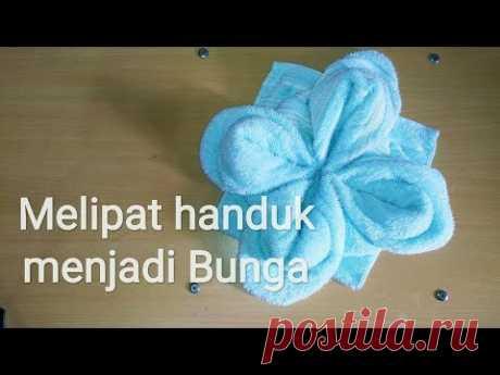 cara melipat handuk menjadi bentuk bunga sederhana