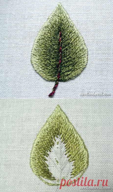 We embroider a leaf with a smooth surface