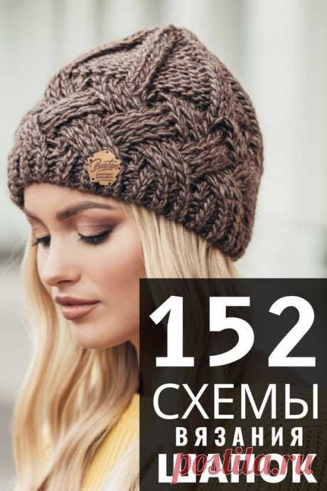 Простые и сложные схемы вязания шапок. 152 идей вязаных шапок спицами для женщин с описанием вязания. Модные вязаные шапки 2020
