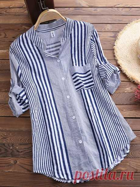 Patchwork Stripe Print Stand Collar Irregular Casual Shirts Cheap - NewChic
