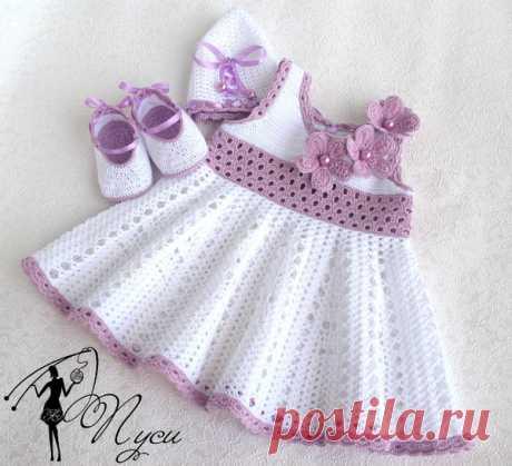 Детские платья для девочек крючком.