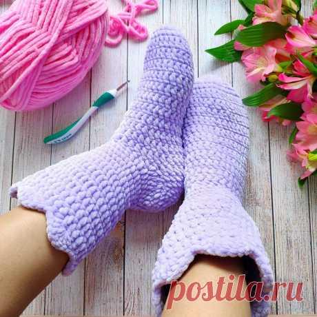 СХЕМА носки-сапожки крючком #схемыкрючком #вязаныеноски #crochetpattern