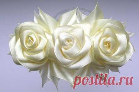 Нежные белые розы из атласных лент | Сам себе волшебник
