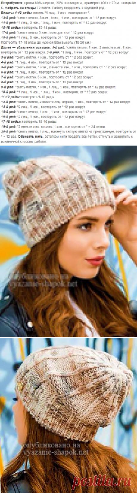 Молодёжная шапка Нэлли для девушек спицами