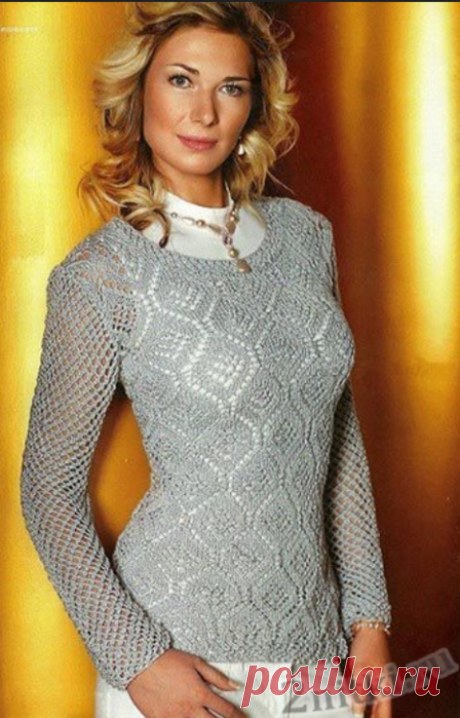 Пуловер ажурными ромбами и сетчатыми рукавами спицами
