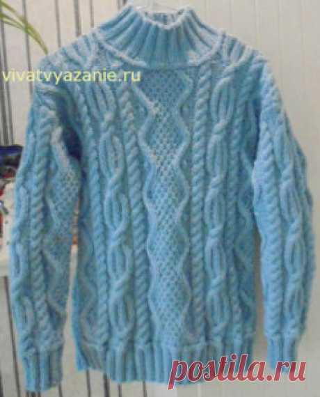 Вязаный свитер с аранами от Ариники