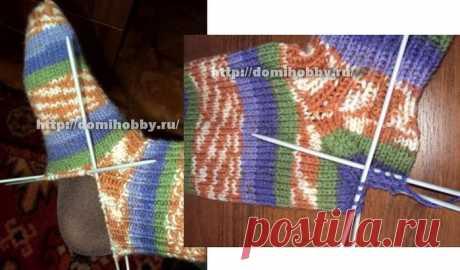 Вязание спицами - Носки спицами - Носки с отдельно связанной пяткой