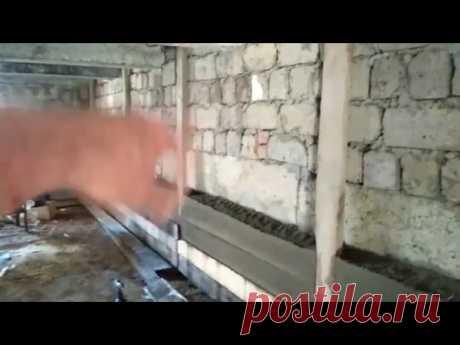 Опилкобетон вместо штукатурки-выравнивание стен в подвале - YouTube