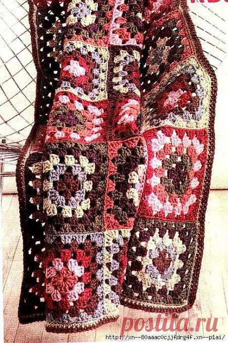 Уютное вязание. Плед из квадратов.