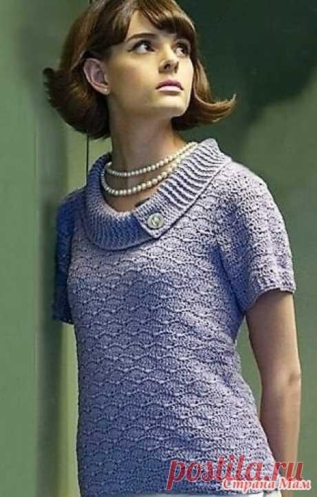 Винтажная кофточка с воротником. Простая, но красивая модель летней женской кофточки. Как украшение — воротник. Как бы не менялись времена и мода, подобная кофточка останется популярной.