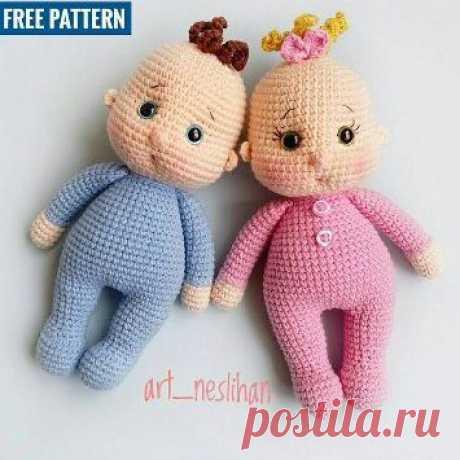 Вязаная кукла пупсик амигуруми - авторская игрушка Art_neslihan. Можно связать пупса-девочку или пупса-мальчика. Перевод описания на русский - Клара Гуржий.