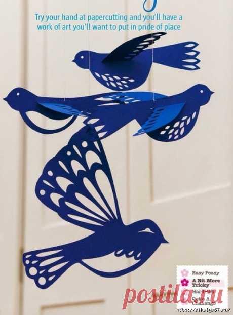 Гирлянды-птички в детскую и не только. Поделки из бумаги и фетра.
