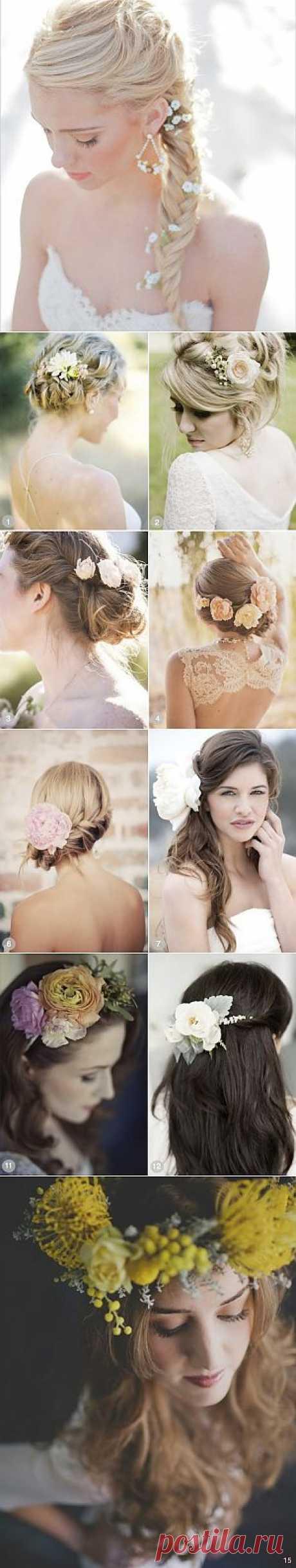 Свадебные причёски с цветами: 50 супер-романтичных вариантов | Самоцветик