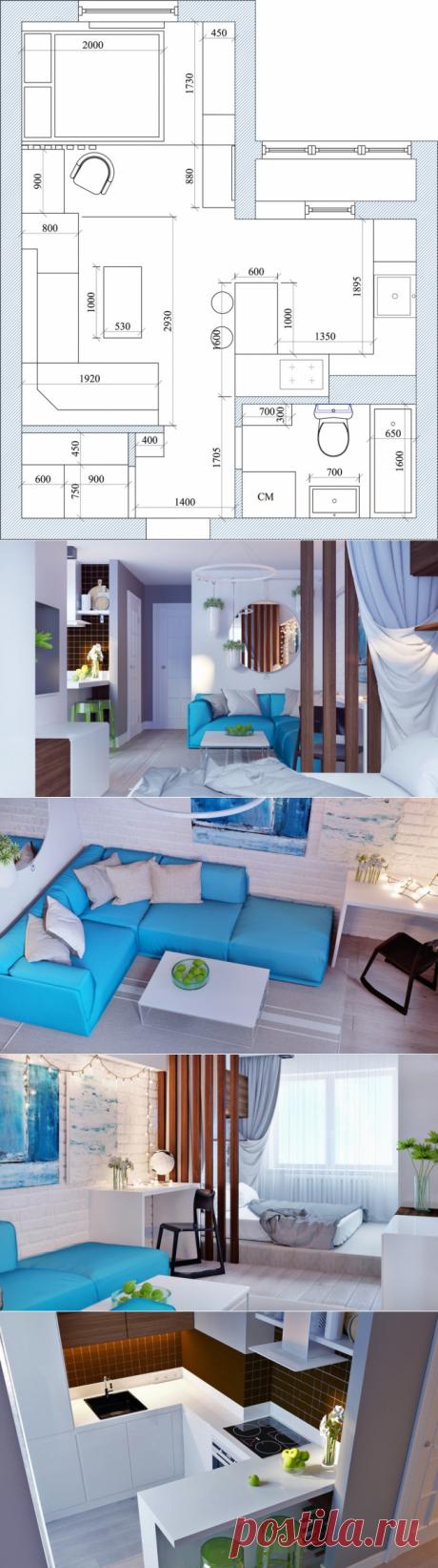 Квартира-студия 30 м2 для молодой пары от Юлии Богославец - Дизайн интерьеров   Идеи вашего дома   Lodgers