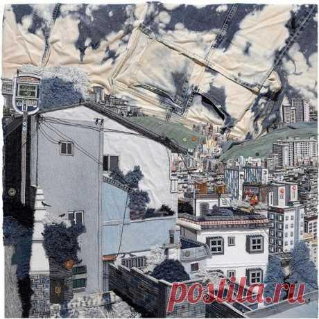 Choi So Young. Молодой корейский художник Чхве Со Ён создает городские пейзажи из старых джинсов, которые можно найти в секонд-хенде. Каждая пуговица, шов, карман и петля для ремня находят свое место, чтобы изобразить определенную деталь картины - они становятся улицей, окном или зданием. Чхве Со Ён часто «рисует» свой родной город Пусан, второй по величине город Республики Корея и ее крупнейший порт. Море и окружающие город горы удивительно реалистичны. Но самое интересно...