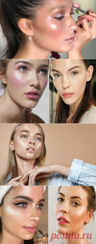 Стильный влажный макияж. Макияж эффект влажной кожи. Средства для влажного макияжа.
