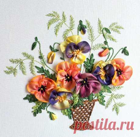 Садовые цветы, вышивка лентами   ВЕРА БУРОВА, канал про вышивку   Яндекс Дзен