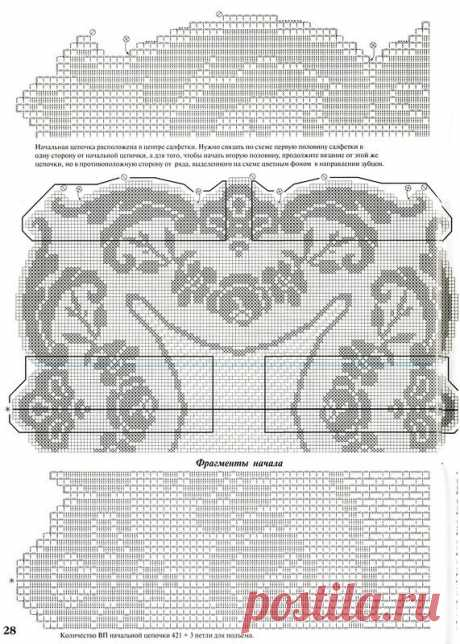 Schemes for knitting by a hook: ROSES
