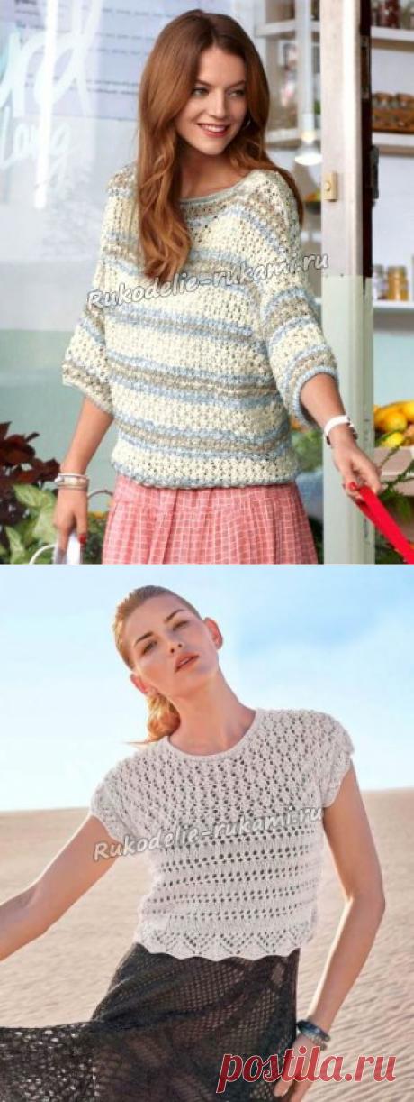 Пуловер из хлопковых ниток спицами - схемы для вязания