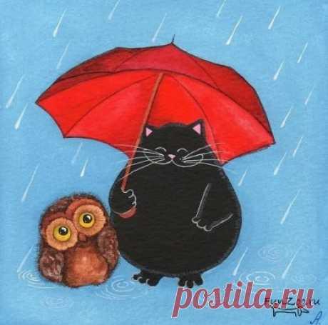 Вместе весело гулять даже под дождем.