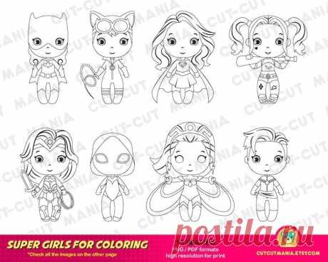 Супер Героини для раскраски Girl Power Super Girls   Etsy
