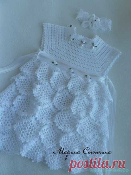 Красивое вязание | Нарядное платье для девочки крючком