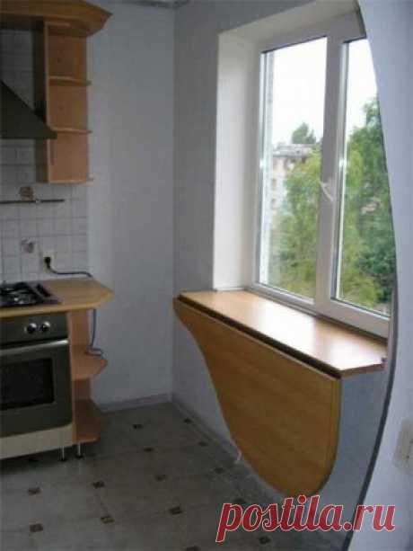 Стол-подоконник на кухне. Как вам идея? ↓↓↓ продолжение темы НИЖЕ ↓↓↓- ЖМИ↓↓