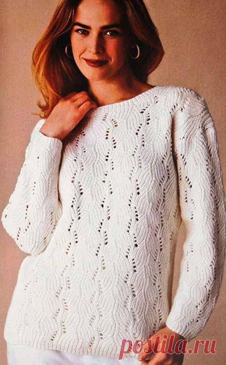Белый пуловер узором Хризантемки спицами – описание вязания с выкройкой