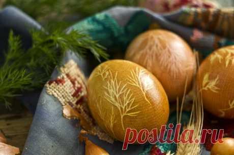 Как покрасить яйца к Пасхе с помощью куркумы, луковой шелухи, марли и укропа. Пошаговый рецепт с фото - Ботаничка.ru
