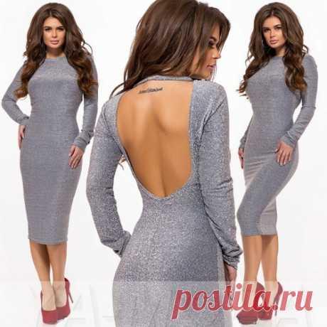 Люрексовое платье с вырезом на спине